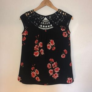 NWT Maurice's Black Floral Top